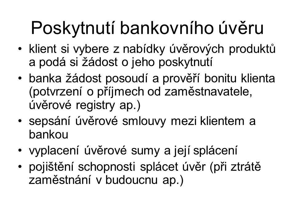 Poskytnutí bankovního úvěru klient si vybere z nabídky úvěrových produktů a podá si žádost o jeho poskytnutí banka žádost posoudí a prověří bonitu kli