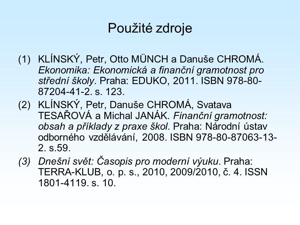 Použité zdroje (1)KLÍNSKÝ, Petr, Otto MÜNCH a Danuše CHROMÁ.