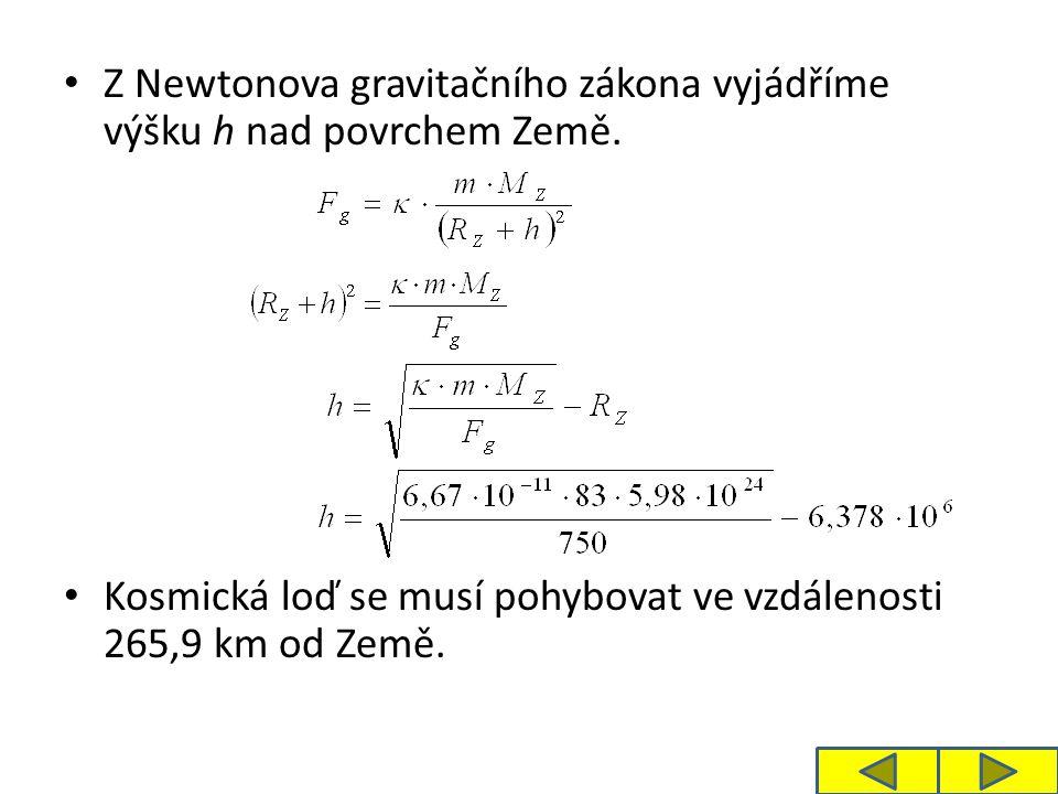 Z Newtonova gravitačního zákona vyjádříme výšku h nad povrchem Země.
