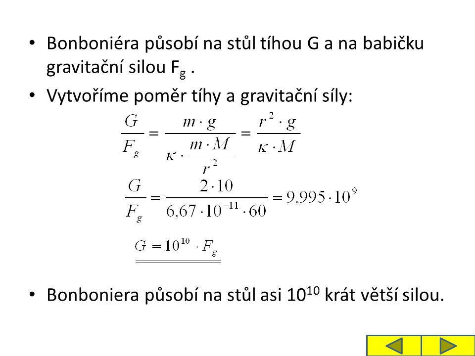 Bonboniéra působí na stůl tíhou G a na babičku gravitační silou F g. Vytvoříme poměr tíhy a gravitační síly: Bonboniera působí na stůl asi 10 10 krát