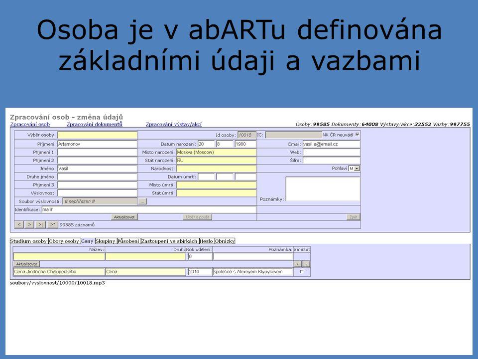 Osoba je v abARTu definována základními údaji a vazbami