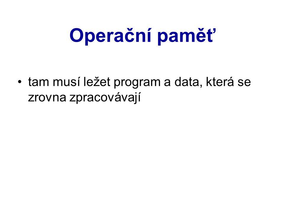 Operační paměť tam musí ležet program a data, která se zrovna zpracovávají