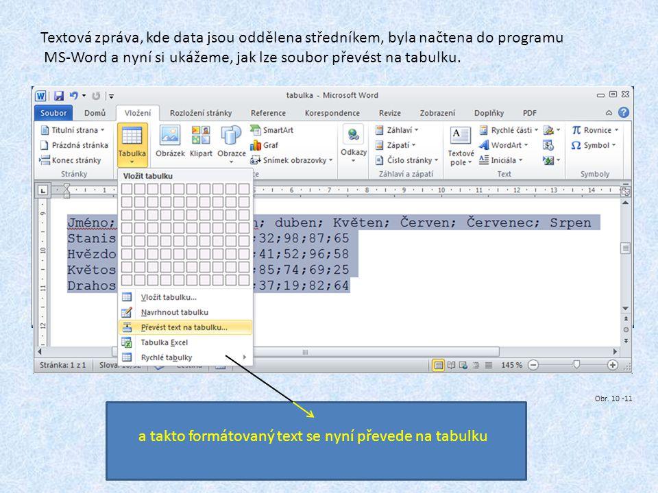 Textová zpráva, kde data jsou oddělena středníkem, byla načtena do programu MS-Word a nyní si ukážeme, jak lze soubor převést na tabulku. a takto form