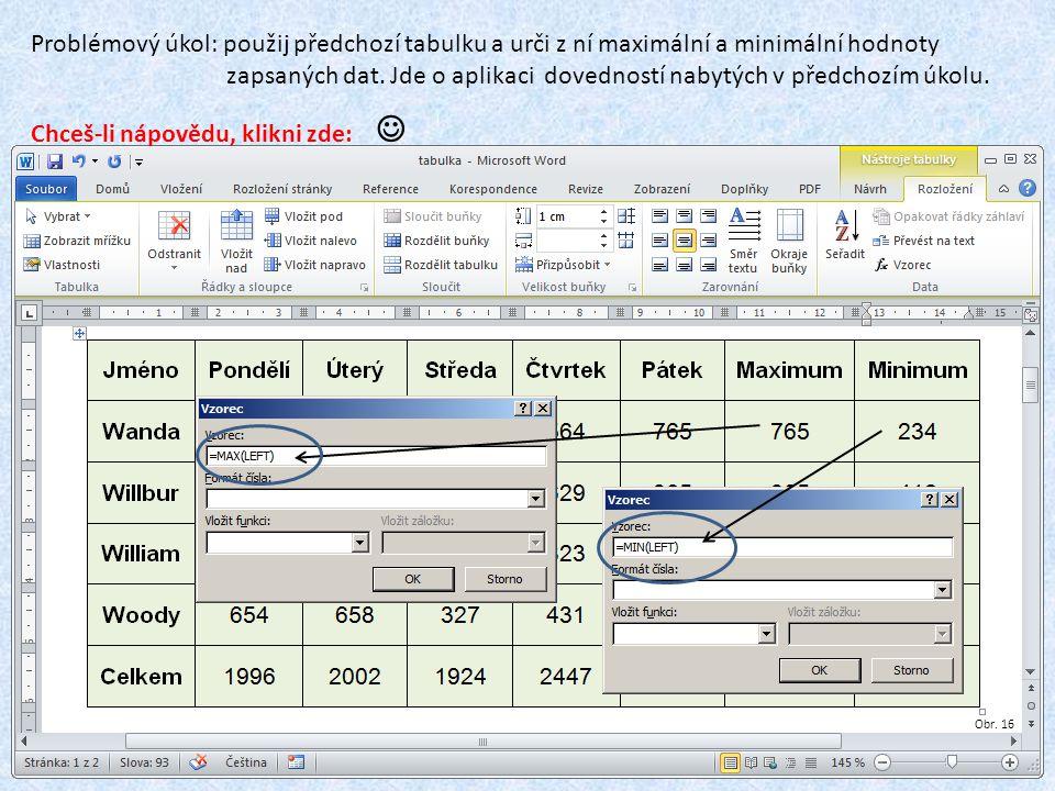Problémový úkol: použij předchozí tabulku a urči z ní maximální a minimální hodnoty zapsaných dat. Jde o aplikaci dovedností nabytých v předchozím úko