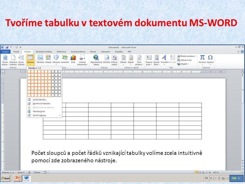 Tvoříme tabulku v textovém dokumentu MS-WORD Počet sloupců a počet řádků vznikající tabulky volíme zcela intuitivně pomocí zde zobrazeného nástroje. O