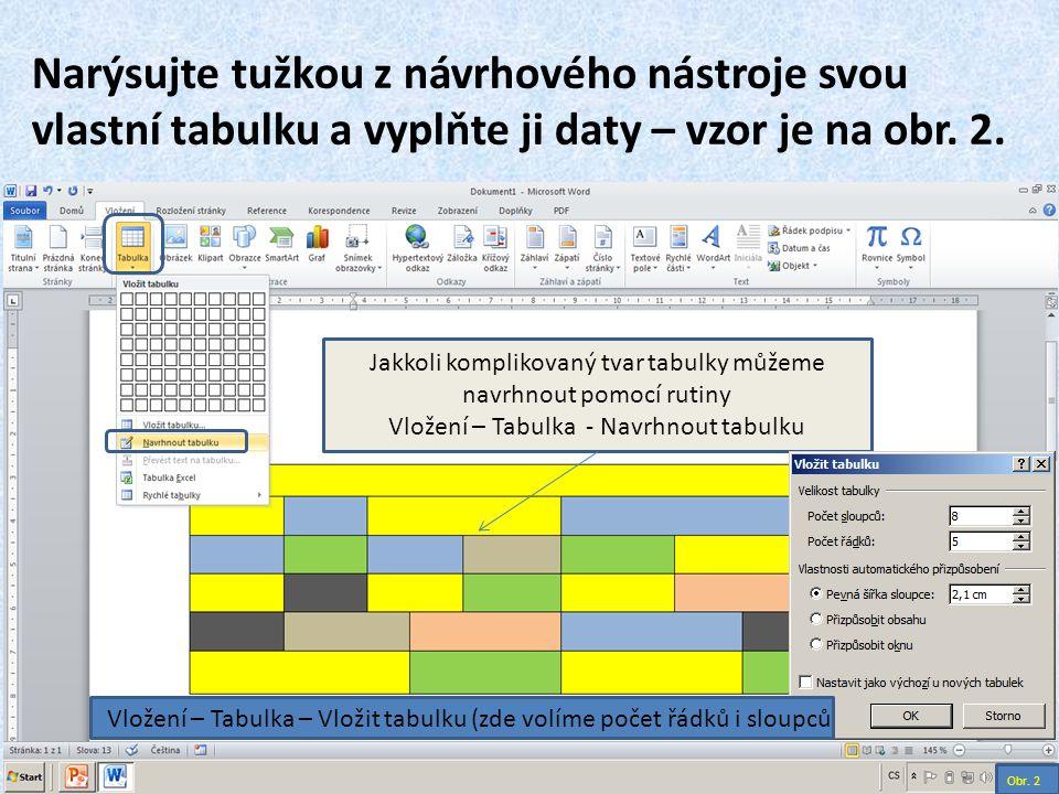Narýsujte tužkou z návrhového nástroje svou vlastní tabulku a vyplňte ji daty – vzor je na obr. 2. Obr. 2 Vložení – Tabulka – Vložit tabulku (zde volí