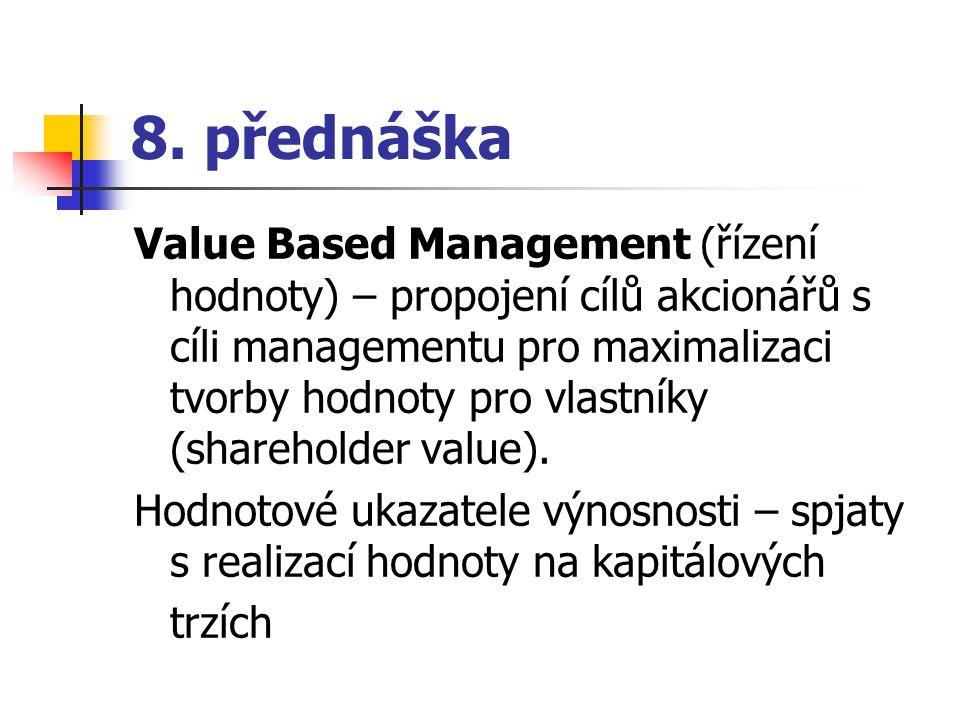 8. přednáška Value Based Management (řízení hodnoty) – propojení cílů akcionářů s cíli managementu pro maximalizaci tvorby hodnoty pro vlastníky (shar