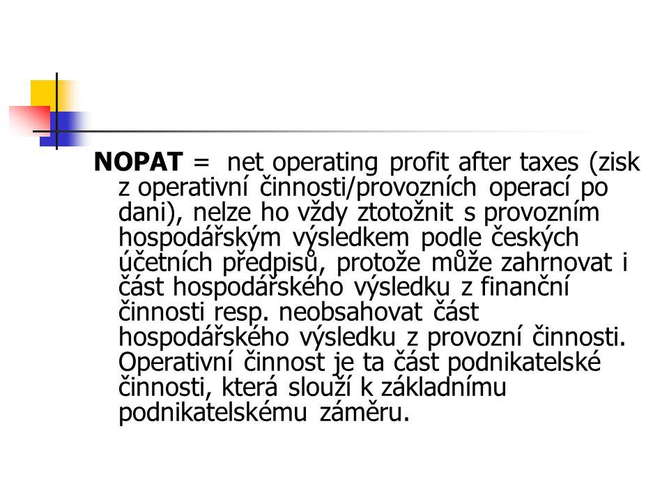 NOPAT =net operating profit after taxes (zisk z operativní činnosti/provozních operací po dani), nelze ho vždy ztotožnit s provozním hospodářským výsl