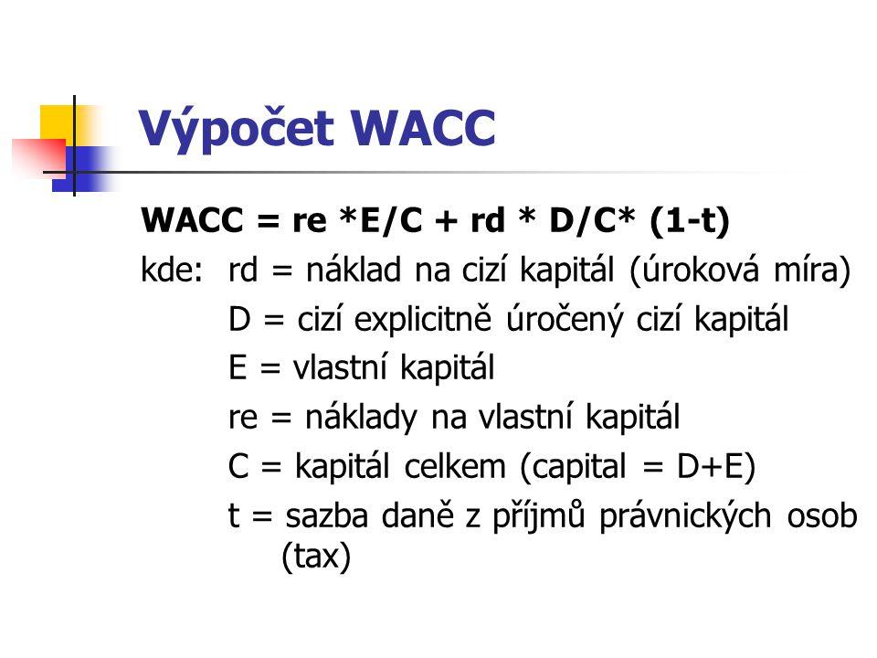 Výpočet WACC WACC = re *E/C + rd * D/C* (1-t) kde:rd = náklad na cizí kapitál (úroková míra) D = cizí explicitně úročený cizí kapitál E = vlastní kapi