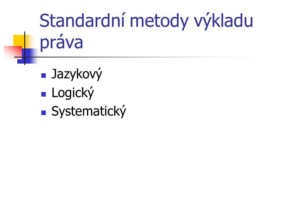 Standardní metody výkladu práva Jazykový Logický Systematický
