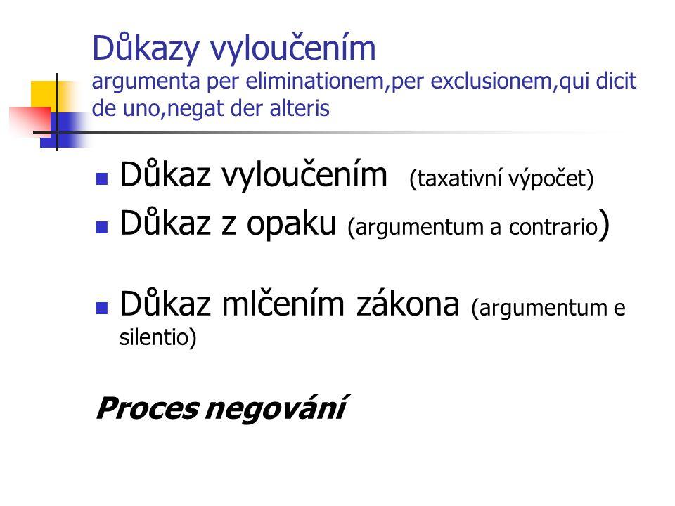 Důkazy vyloučením argumenta per eliminationem,per exclusionem,qui dicit de uno,negat der alteris Důkaz vyloučením (taxativní výpočet) Důkaz z opaku (a