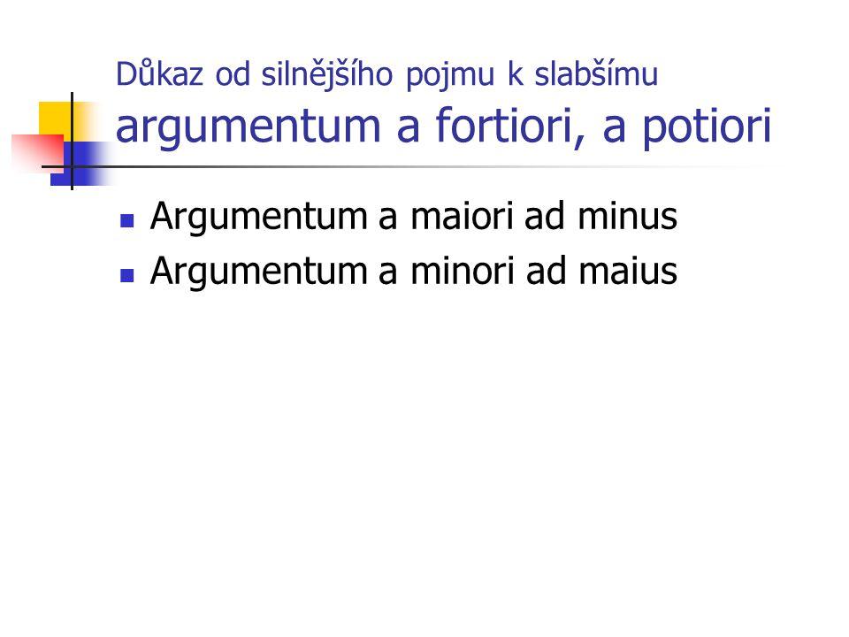 Důkaz od silnějšího pojmu k slabšímu argumentum a fortiori, a potiori Argumentum a maiori ad minus Argumentum a minori ad maius