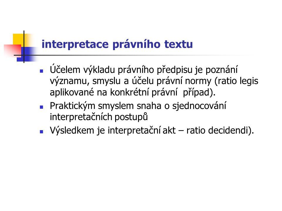 interpretace právního textu Účelem výkladu právního předpisu je poznání významu, smyslu a účelu právní normy (ratio legis aplikované na konkrétní práv