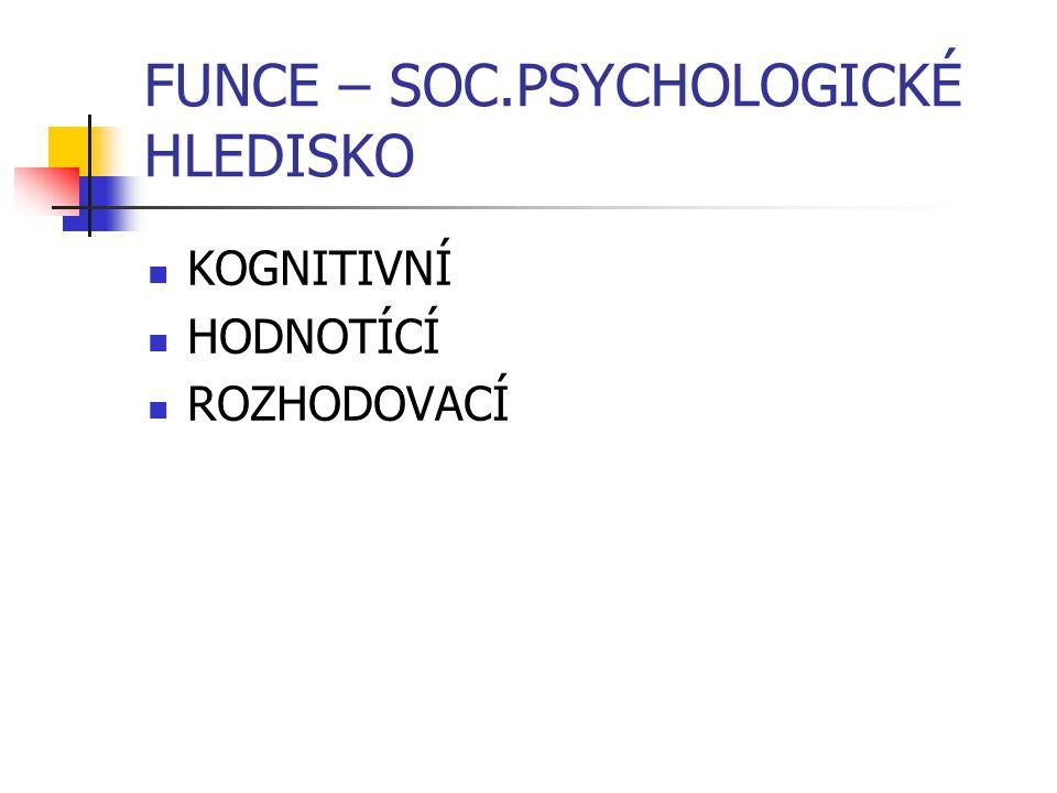 FUNCE – SOC.PSYCHOLOGICKÉ HLEDISKO KOGNITIVNÍ HODNOTÍCÍ ROZHODOVACÍ