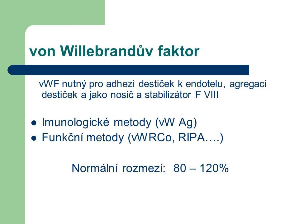 von Willebrandův faktor vWF nutný pro adhezi destiček k endotelu, agregaci destiček a jako nosič a stabilizátor F VIII Imunologické metody (vW Ag) Funkční metody (vWRCo, RIPA….) Normální rozmezí: 80 – 120%