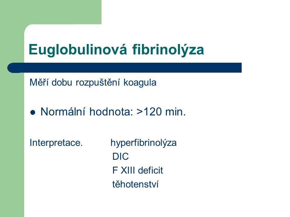 Euglobulinová fibrinolýza Měří dobu rozpuštění koagula Normální hodnota: >120 min.