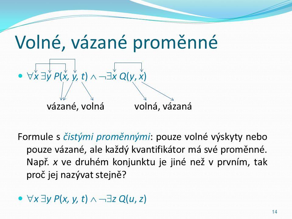 Volné, vázané proměnné  x  y P(x, y, t)   x Q(y, x) vázané, volnávolná, vázaná Formule s čistými proměnnými: pouze volné výskyty nebo pouze vázané, ale každý kvantifikátor má své proměnné.