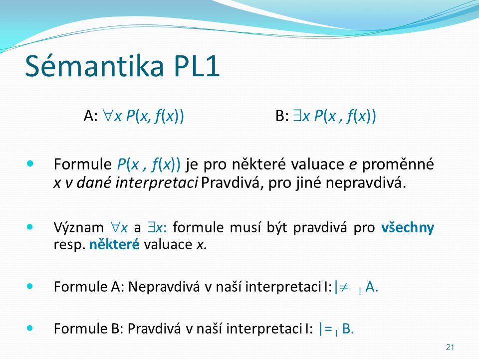A:  x P(x, f(x))B:  x P(x, f(x)) Formule P(x, f(x)) je pro některé valuace e proměnné x v dané interpretaci Pravdivá, pro jiné nepravdivá.