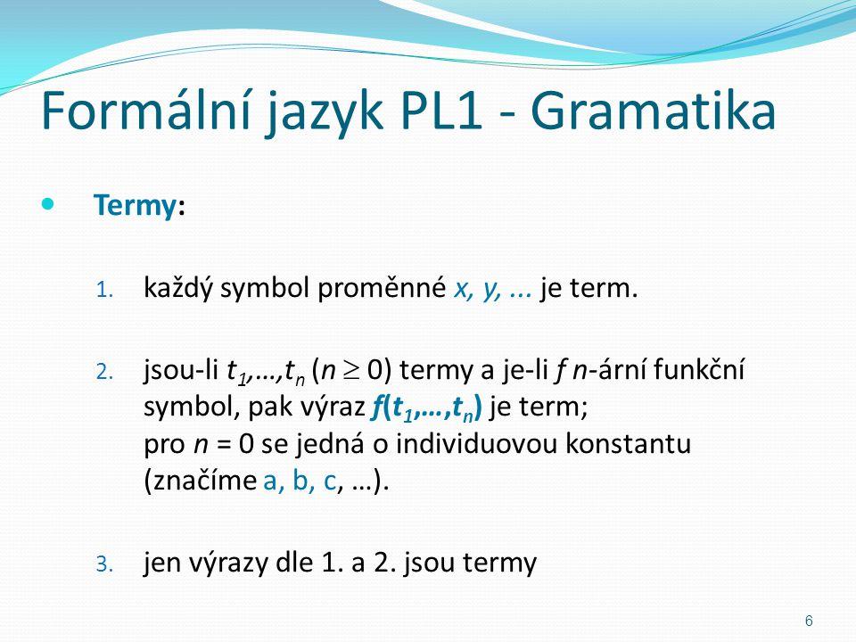 Formální jazyk PL1 - Gramatika Termy : 1. každý symbol proměnné x, y,...