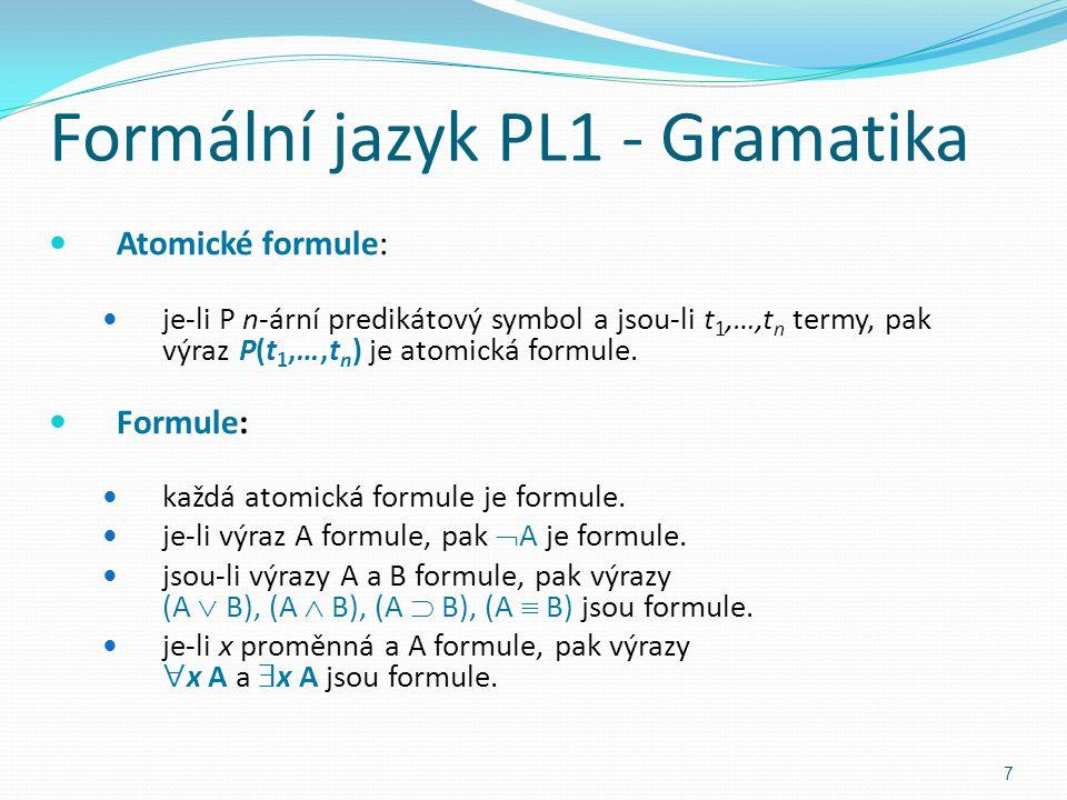 Atomické formule: je-li P n-ární predikátový symbol a jsou-li t 1,…,t n termy, pak výraz P(t 1,…,t n ) je atomická formule.
