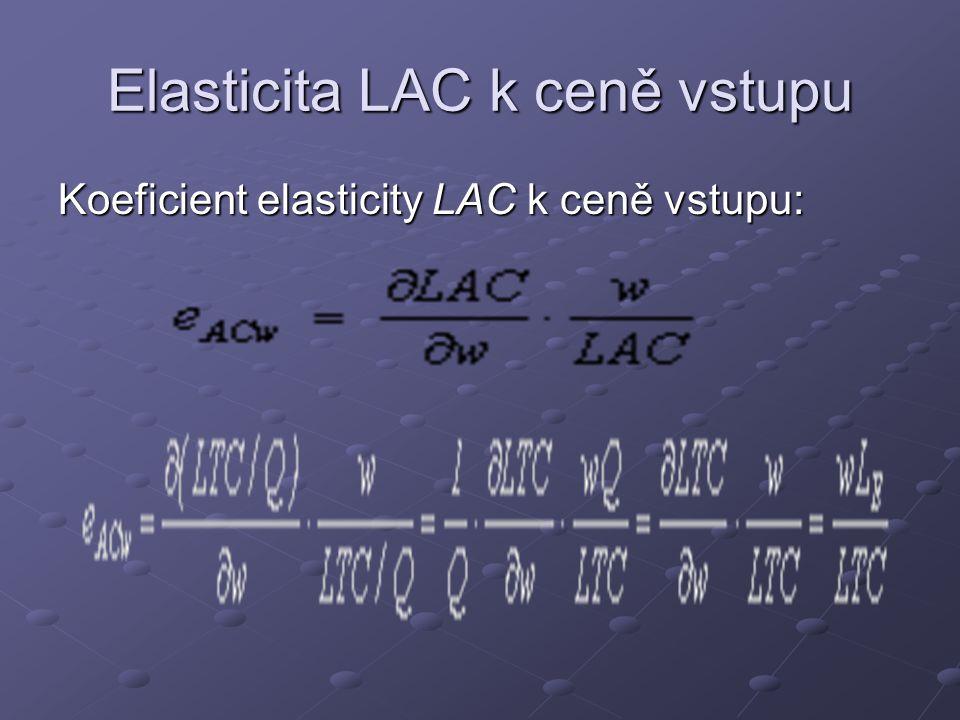 Elasticita LAC k ceně vstupu Koeficient elasticity LAC k ceně vstupu: