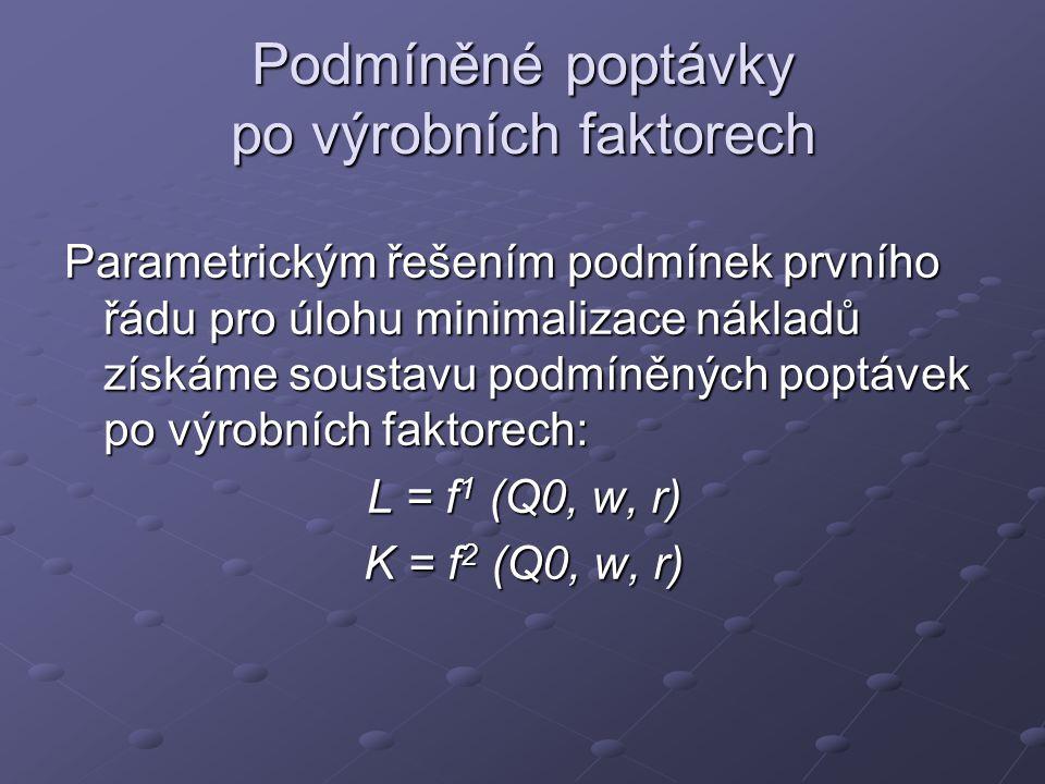 Podmíněné poptávky po výrobních faktorech Parametrickým řešením podmínek prvního řádu pro úlohu minimalizace nákladů získáme soustavu podmíněných poptávek po výrobních faktorech: L = f 1 (Q0, w, r) K = f 2 (Q0, w, r)