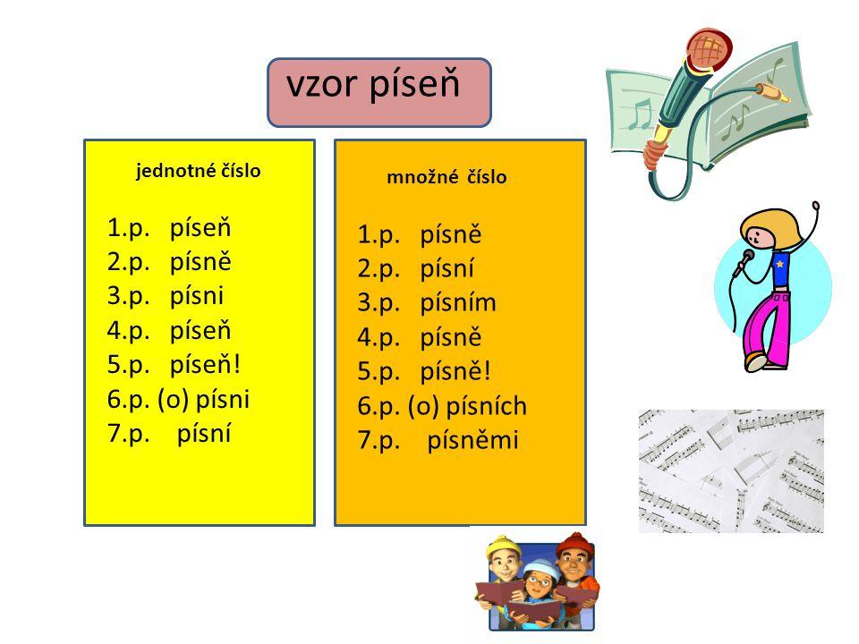 Vzor PÍSEŇ -měkký vzor -při skloňování podle vzoru píseň -končí podstatná jména na samohlásku -ve 2.pádě čísla jednotného e / ě - všechna i,í v koncovkách jsou měkká