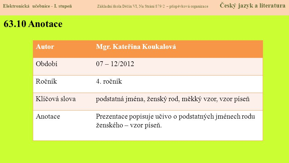 63.10 Anotace AutorMgr.Kateřina Koukalová Období07 – 12/2012 Ročník4.
