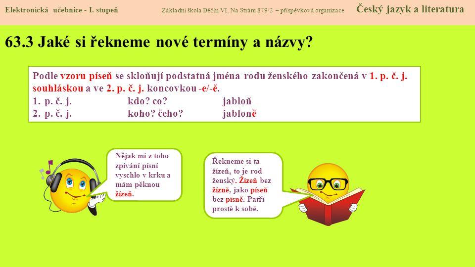 63.3 Jaké si řekneme nové termíny a názvy.Elektronická učebnice - I.