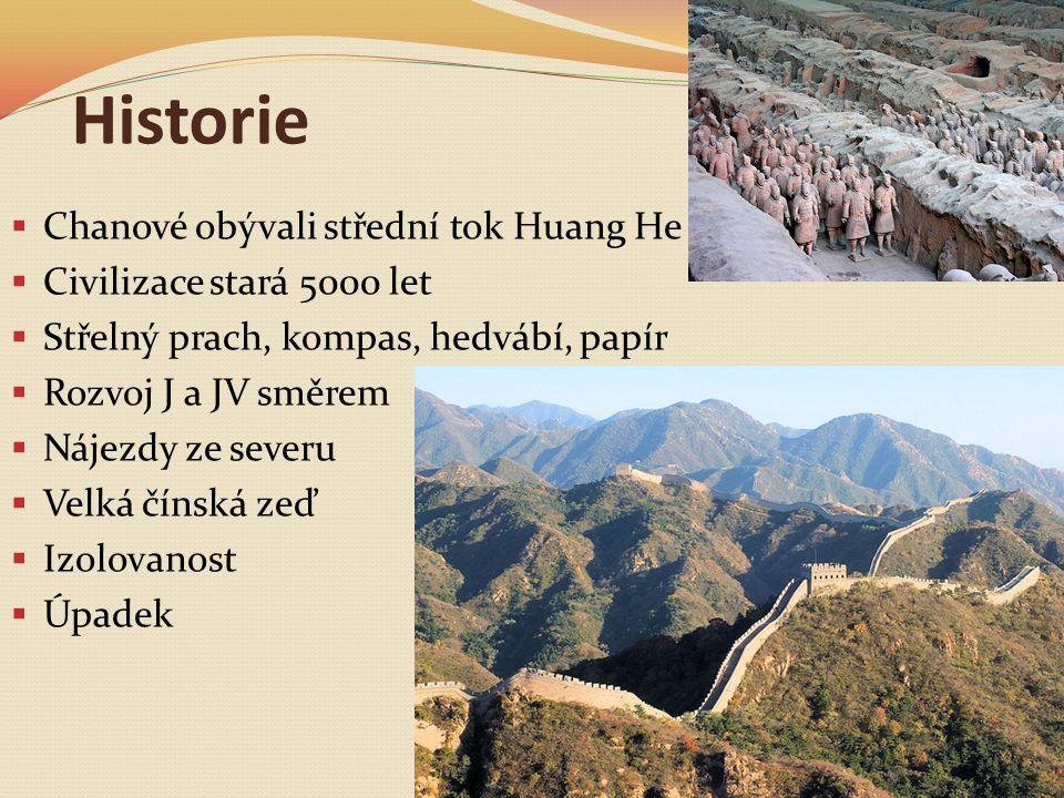 Historie  Chanové obývali střední tok Huang He  Civilizace stará 5000 let  Střelný prach, kompas, hedvábí, papír  Rozvoj J a JV směrem  Nájezdy ze severu  Velká čínská zeď  Izolovanost  Úpadek