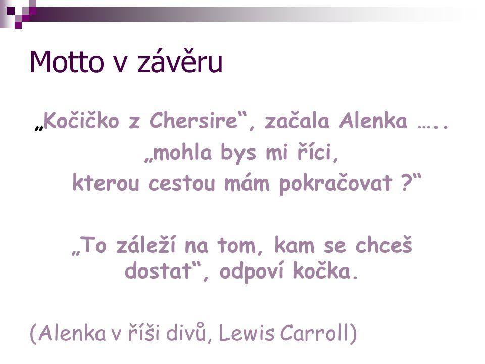 """Motto v závěru """"Kočičko z Chersire , začala Alenka ….."""