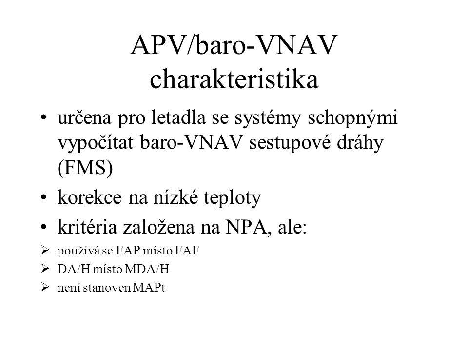 Rozdělení přístrojových přiblížení NPA (Non-precision approach) APV (Non-precision approach) PA (Precision approach) ConvetionalRNAV ConvetionalRNAV V