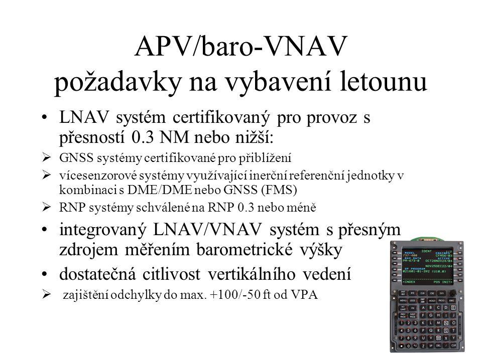 APV/baro-VNAV charakteristika určena pro letadla se systémy schopnými vypočítat baro-VNAV sestupové dráhy (FMS) korekce na nízké teploty kritéria zalo