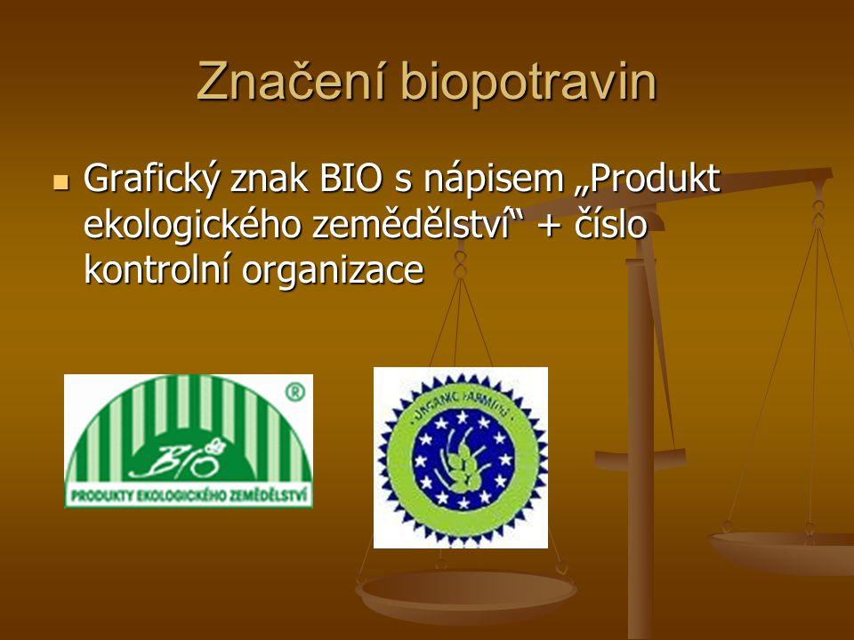 """Značení biopotravin Grafický znak BIO s nápisem """"Produkt ekologického zemědělství + číslo kontrolní organizace Grafický znak BIO s nápisem """"Produkt ekologického zemědělství + číslo kontrolní organizace"""