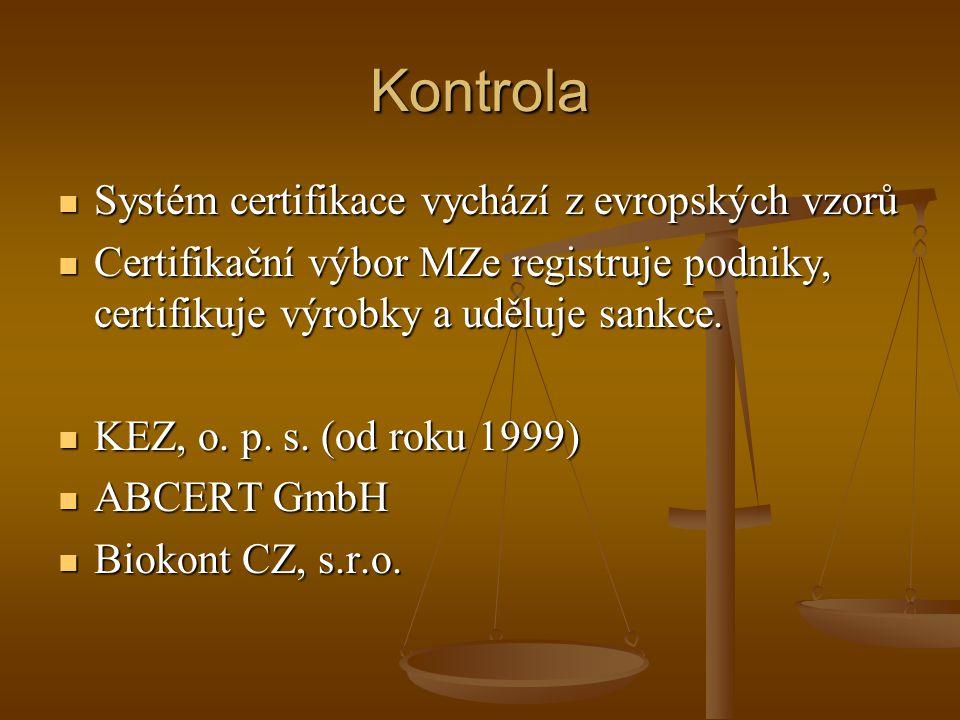 Kontrola Systém certifikace vychází z evropských vzorů Systém certifikace vychází z evropských vzorů Certifikační výbor MZe registruje podniky, certifikuje výrobky a uděluje sankce.