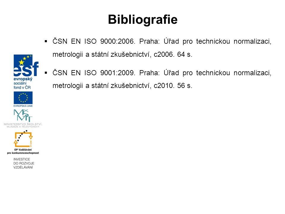  ČSN EN ISO 9000:2006. Praha: Úřad pro technickou normalizaci, metrologii a státní zkušebnictví, c2006. 64 s.  ČSN EN ISO 9001:2009. Praha: Úřad pro