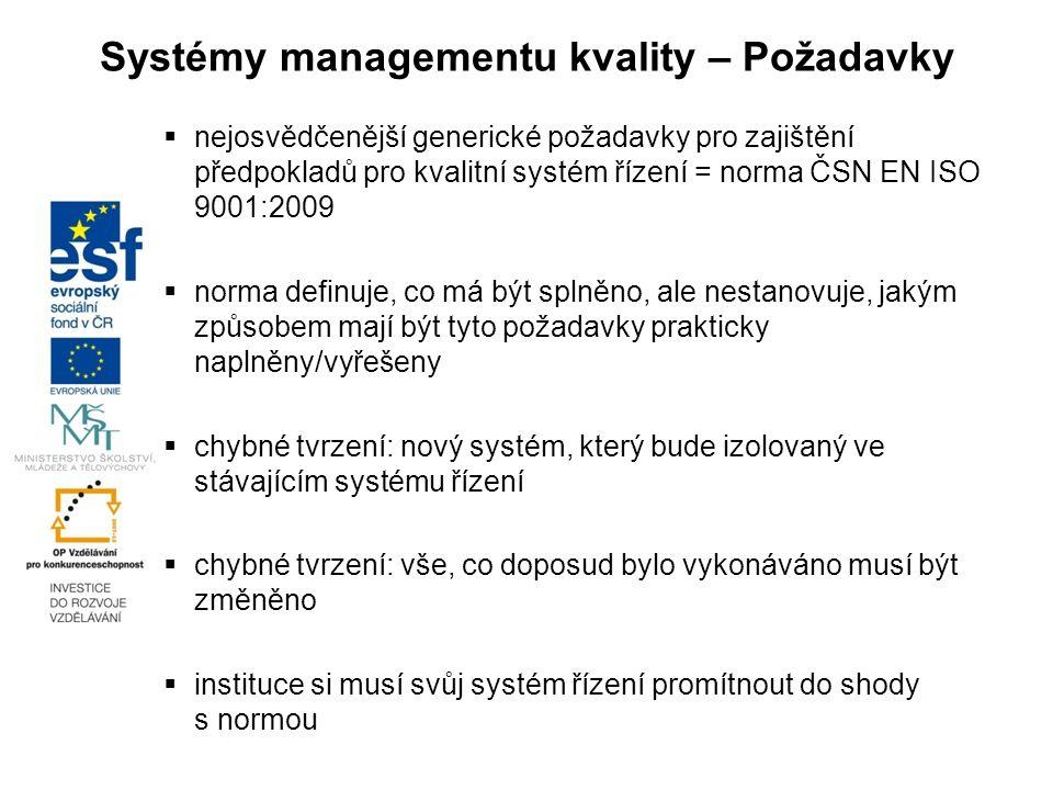 Systémy managementu kvality – Požadavky  nejosvědčenější generické požadavky pro zajištění předpokladů pro kvalitní systém řízení = norma ČSN EN ISO 9001:2009  norma definuje, co má být splněno, ale nestanovuje, jakým způsobem mají být tyto požadavky prakticky naplněny/vyřešeny  chybné tvrzení: nový systém, který bude izolovaný ve stávajícím systému řízení  chybné tvrzení: vše, co doposud bylo vykonáváno musí být změněno  instituce si musí svůj systém řízení promítnout do shody s normou