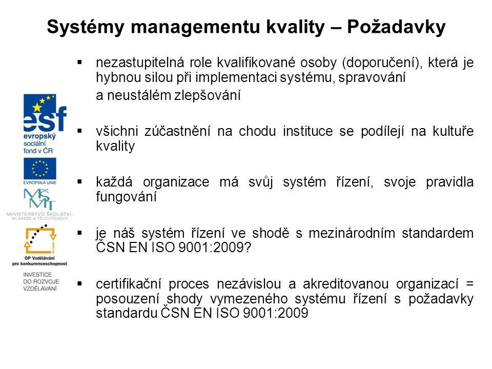 Systémy managementu kvality – Požadavky  nezastupitelná role kvalifikované osoby (doporučení), která je hybnou silou při implementaci systému, spravování a neustálém zlepšování  všichni zúčastnění na chodu instituce se podílejí na kultuře kvality  každá organizace má svůj systém řízení, svoje pravidla fungování  je náš systém řízení ve shodě s mezinárodním standardem ČSN EN ISO 9001:2009.