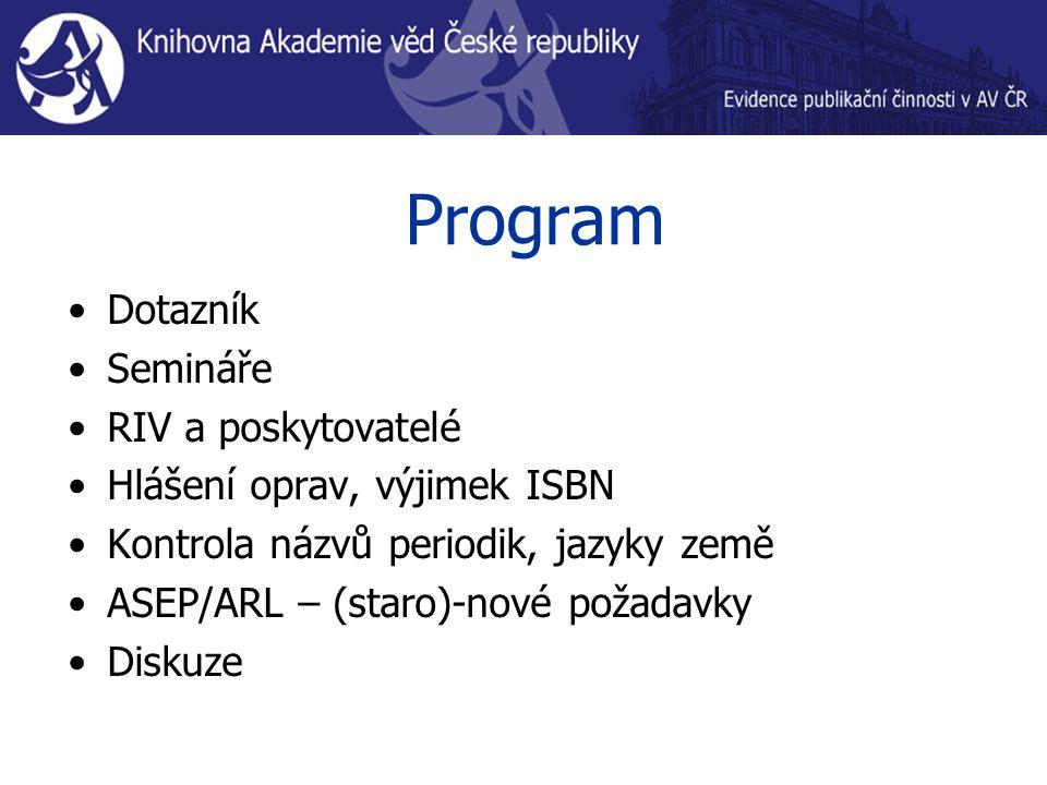 Program Dotazník Semináře RIV a poskytovatelé Hlášení oprav, výjimek ISBN Kontrola názvů periodik, jazyky země ASEP/ARL – (staro)-nové požadavky Diskuze
