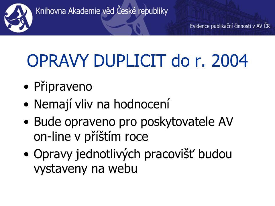 OPRAVY DUPLICIT do r.