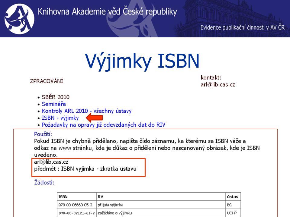 Výjimky ISBN