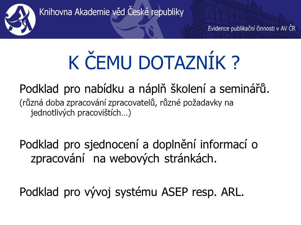 K ČEMU DOTAZNÍK . Podklad pro nabídku a náplň školení a seminářů.