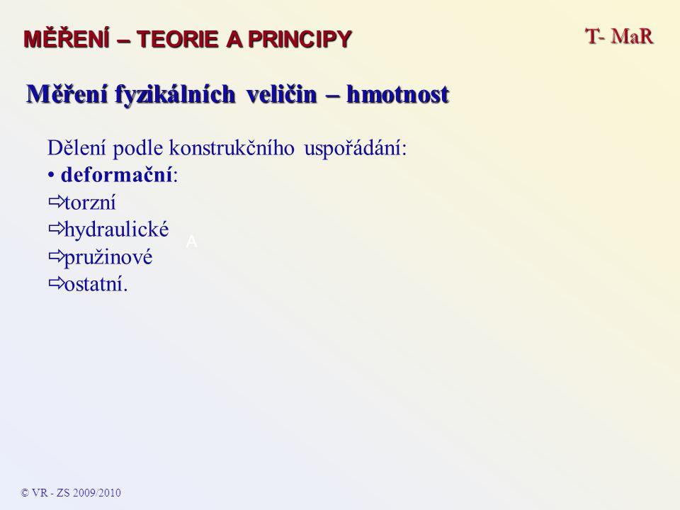 T- MaR MĚŘENÍ – TEORIE A PRINCIPY © VR - ZS 2009/2010 A Měření fyzikálních veličin – hmotnost Dělení podle konstrukčního uspořádání: deformační:  torzní  hydraulické  pružinové  ostatní.