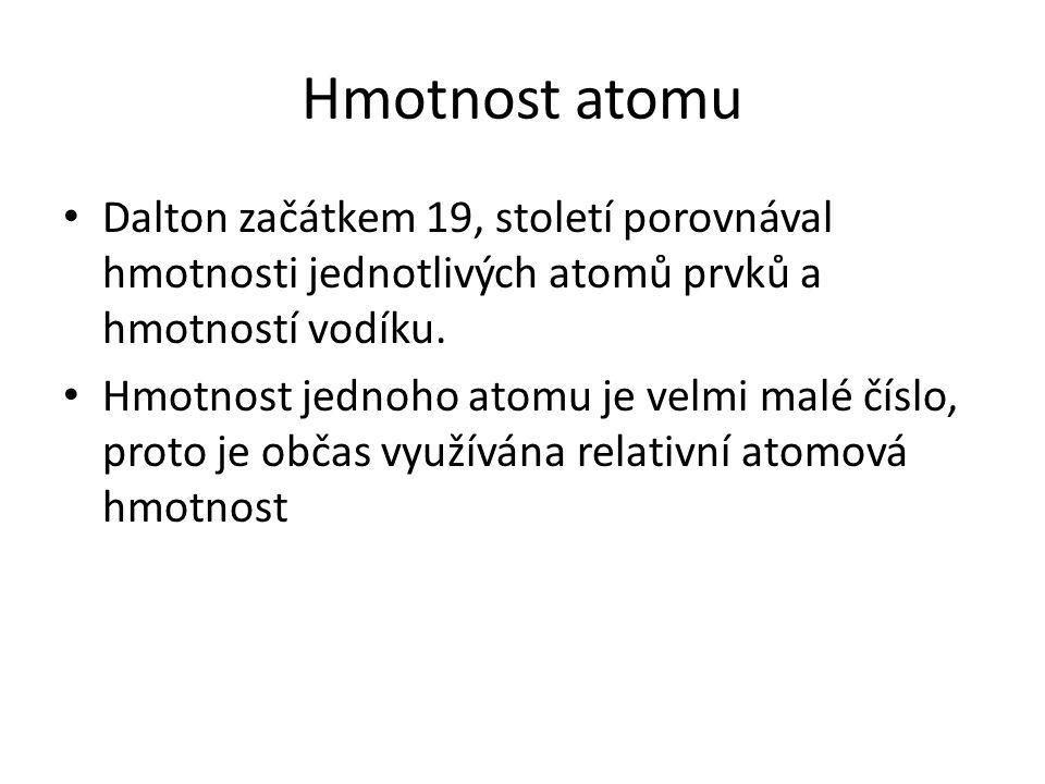 Hmotnost atomu Relativní atomovou hmotnost vypočítáme jako podíl klidové hmotnosti atomu a atomové hmotnostní konstanty.