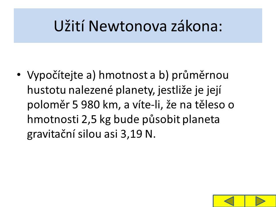 Užití Newtonova zákona: Vypočítejte a) hmotnost a b) průměrnou hustotu nalezené planety, jestliže je její poloměr 5 980 km, a víte-li, že na těleso o