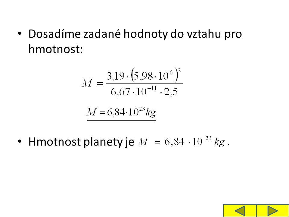 Řešení b) Pro výpočet hustoty planety potřebujeme vyjádřit objem V planety.