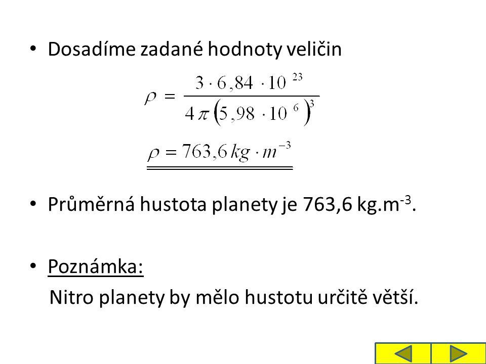 Dosadíme zadané hodnoty veličin Průměrná hustota planety je 763,6 kg.m -3. Poznámka: Nitro planety by mělo hustotu určitě větší.