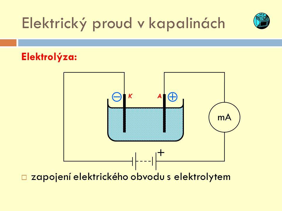 """KA Elektrický proud v kapalinách  Vznikem elektrického pole je vyvolán """"usměrněný pohyb iontů elektrolytu."""
