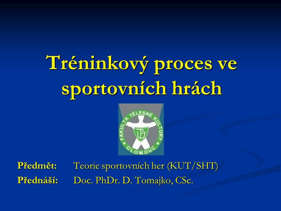 Tréninkový proces ve sportovních hrách Předmět: Teorie sportovních her (KUT/SHT) Přednáší: Doc.