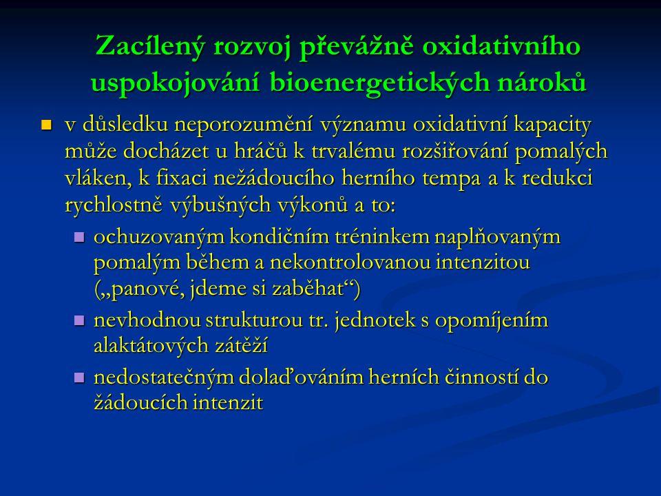"""Zacílený rozvoj převážně oxidativního uspokojování bioenergetických nároků v důsledku neporozumění významu oxidativní kapacity může docházet u hráčů k trvalému rozšiřování pomalých vláken, k fixaci nežádoucího herního tempa a k redukci rychlostně výbušných výkonů a to: v důsledku neporozumění významu oxidativní kapacity může docházet u hráčů k trvalému rozšiřování pomalých vláken, k fixaci nežádoucího herního tempa a k redukci rychlostně výbušných výkonů a to: ochuzovaným kondičním tréninkem naplňovaným pomalým během a nekontrolovanou intenzitou (""""panové, jdeme si zaběhat ) ochuzovaným kondičním tréninkem naplňovaným pomalým během a nekontrolovanou intenzitou (""""panové, jdeme si zaběhat ) nevhodnou strukturou tr."""